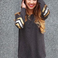 Sequin Chevron Elbow Knit {Gray}