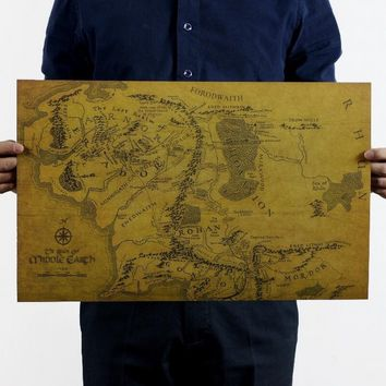 The Lord of The Rings Middle Earth Map Retro Kraft Paper Poster 51x35cm (Color: Brown)