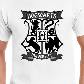 Hogwarts University Black Logo Tee Shirt, Harry Potter Inspired T-Shirt