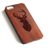 Milu Deer Natural wood iPhone case laser engraved iPhone case WA022