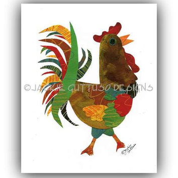 "Rooster print, Rooster collage 8 x 10"" Giclee print, Chicken art, Colorful rooster kitchen art, Acrylic rooster painting print, Farm animal"