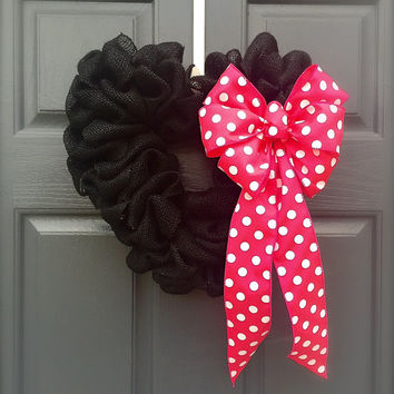 Valentine's Day Heart Wreath Love Pink Polka Dots Black Pink Love Gift Heart Decor