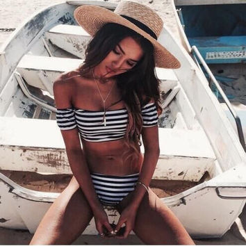 Fashion Stripe Two Piece  Off Shoulder  Bikini Swimwear Bathsuit -Daniel03116