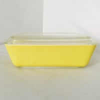 Vintage Pyrex Primary Yellow 403B Refrigerator Dish With Lid Made in USA
