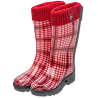 For Bare Feet Women's Rain Boots (Red/Black/White)