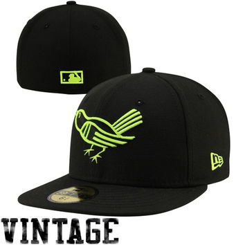 New Era Baltimore Orioles Cooperstown Collection 59FIFTY Fitted Hat - Black/Neon Yellow