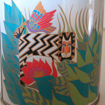 80s VINTAGE POP ART Container Artist and Designer - Laurel Burch Decorative Storage Tin - Animals - Cats, Birds, Lion, Snake - Colorful -