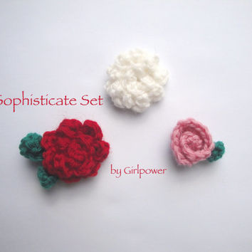 Sophisticate Crochet Flower Lapel Pins/Boutonnieres For Men/Women, Set of 3, Corsage Rose Rosebud Carnation