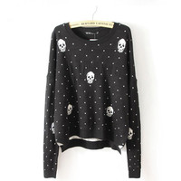 Black Skull Polka Dot Jacquard Long Sleeve Sweater
