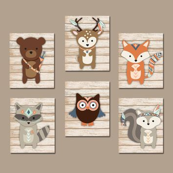 TRIBAL Nursery Wall Art Canvas or Prints Whimsical Woodland Animals, Indian Feathers, Forest Animal Tribe, Woodland Baby Decor, Set of 6