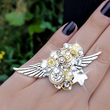 Steampunk ring, silver steampunk, boho ring, angel ring, magic ring, watch gear ring, crystal ring, filigree ring, steampunk fashion, OOAK