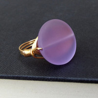 Radiant Orchid Ring:  Lavender Sea Glass Ring, 24K Gold Wire Wrapped Purple Beach Statement Jewelry, Size 7