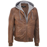 Black Rivet Mens Big & Tall Faux-Leather Hooded Bomber