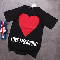 """MOSCHINO"" Trending Women Stylish Red Heart Pattern Round Collar Short Sleeve Dress"