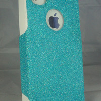 Custom Glitter Case Otterbox for iPhone 4/4S Frost Blue/White