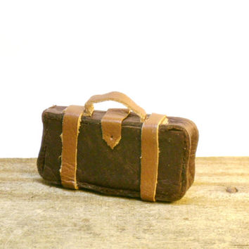 Miniature Dollhouse Luggage Fairy Garden Suitcase Brown Leather