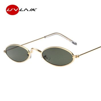 UVLAIK Vintage Small Oval Sunglasses Women Retro Brand Skinny Metal Frame Sunnies Men Sun Glasses Red Gold Yellow Lens Eyewear