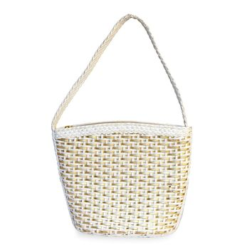 Vintage Woven Handbag, White & Gold Leather by CEM