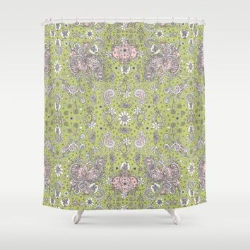 Shower Curtain 'Green and pink floral'
