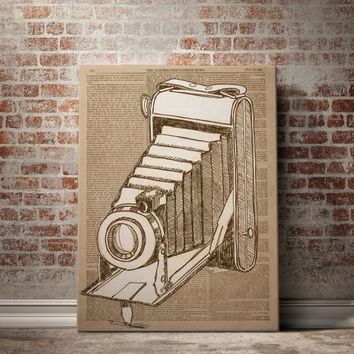 CAMERA Art Print on Dictionary Book Page Original Vintage Antique Old Illustration Drawing Vintage Newspaper Dictionary Print Photo Camera