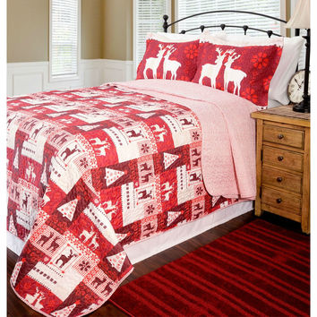 Full / Queen Size Red Reindeer Christmas Tree Quilt Coverlet Set