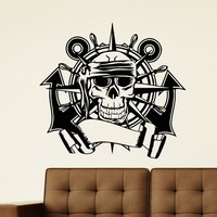 Wall Decal Vinyl Sticker Skull with Anchor and Wheel Decor Sb421