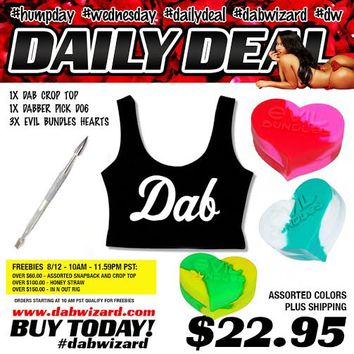 DAILY DEAL 08/12/2015: 1x Dab Crop Top + 1x Dabber Pick D06 + 3x Evil Bundles Hearts
