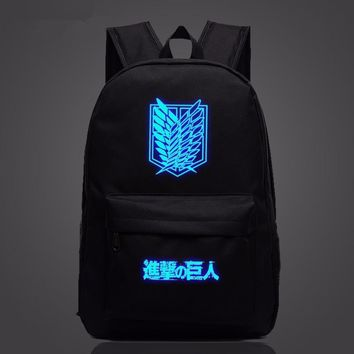 Cool Attack on Titan Japan Anime  Backpack Cool Night Lumious School Bag for Teenagers Cartoon Travel Bag Oxford Mochila Galaxia AT_90_11