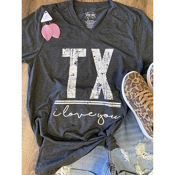 TX I Love You Graphic Tee (XS-2XL)