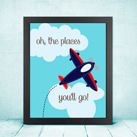 DIGITAL FILE | Nursery, Oh the Places You'll Go, Airplane, Light Blue Navy White Gray, White Clouds Sky 8x10 Download Wall Art Decor Print