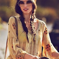 Free People Centered Crochet Blouse
