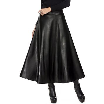 Summer Long Skirts Womens Hight Waist Maxi Skirt PU Leather Slim Autumn Vintage Pleated Swing Skirt Black XL XXL
