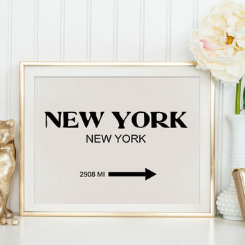 PRINTABLE DECOR Prada Marfa New York City Print Typography Art Print Gift for Him Fashion Art NYC Art Prada Marfa Sign Like in Gossip Girl