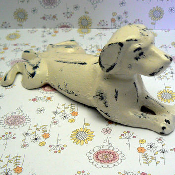 Dog Door Stop Cast Iron Shabby Chic Creamy Off White Ecru Distressed Doggie Doorstop Prop Animal Canine