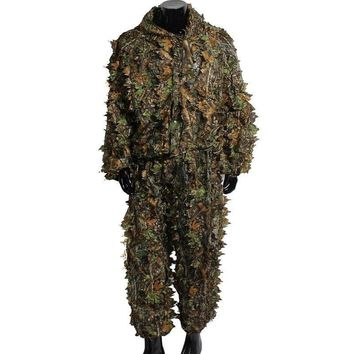 Hunting Ghillie Suit 3D Camo Bionic Leaf Camouflage Jungle Woodland Birdwatching Poncho Manteau Hunting Clothing 2018 New