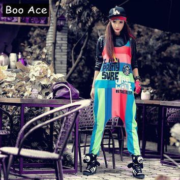 2017 Boo Ace Baggy Harem Printed Jumpsuit Women Hippie Hip-hop Casual Crotch Rompers Womens Jumpsuit Free Size