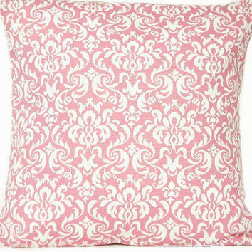 WEEKLY SPECIAL 10.00 Pink Damask Pillow Cover White Decorative 16x16