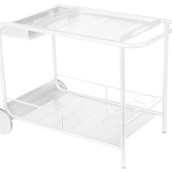 Cotton White Luxembourg Wheeled Bar Cart