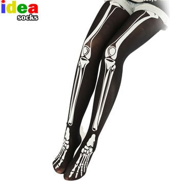 autumn winter women sexy pantyhose 3d print skeleton bone creative tights Stovepipe skull terror scary stocking Step Foot
