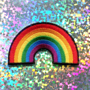 Rainbow Sew-On Patch : 90's Grunge, Applique, Patches, Pins, Gay Pride, LGBT, Lesbian, Rainbow, Colorful