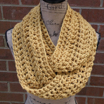 The Boston New Mustard Gold Handmade Crochet Knit Infinity Scarf Cowl Extra Soft