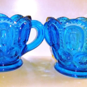 LE SMITH GLASS Moon and Stars Sugar and Creamer Set Mid Century Modern Vintage