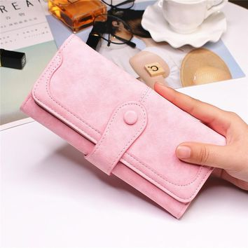 2017 New Arrival ! Fashion Women Long Wallet Soft PU Tri-Fold Wallet Multifunction Purse Female Clutch Slim Cell Phone Holder