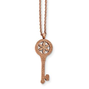Stainless Steel Polished Laser-cut Rose IP-plated Key Necklace 18in