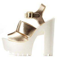 Gold Cut-Out Chunky Lug Platform Heels by Charlotte Russe