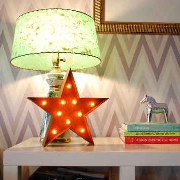 """12"""" Small Star Vintage Marquee Sign with Lights"""