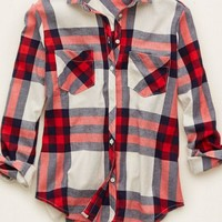 Aerie Women's Cozy Flannel Sleep Shirt (Vintage Vanilla)