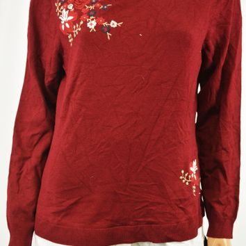 Charter Club Women's Red Layered-Look Embroidered Sweater Top L