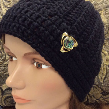 Beanie, lady's hat, crochet hat, teen hat, teen beanie, brooch hat, shell pin, handmade, black beanie, winter hat, gold tone brooch