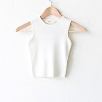 Ribbed Knit Sweater Crop Top - Ivory
